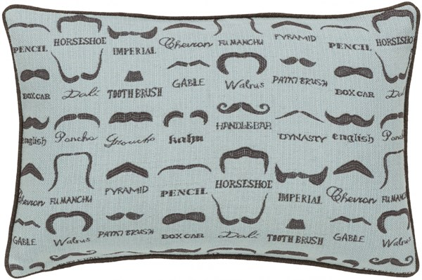 Wax That Stache Slate Chocolate Poly Polyester Lumbar Pillow - 19x13 WTS003-1319P