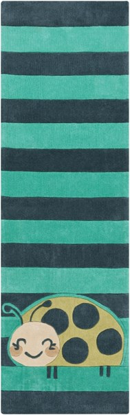 Young Life Teal Green Lime Mocha Polyester Kids Rug - 30 x 96 YGL7010-268