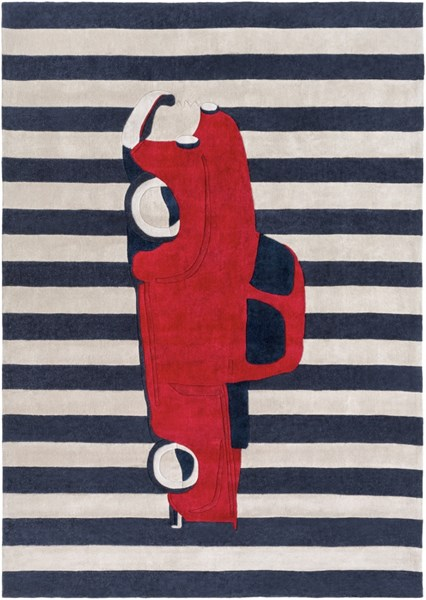 Surya Young Life Navy Bright Red Polyester Area Rug - 132x96 YGL7016-811
