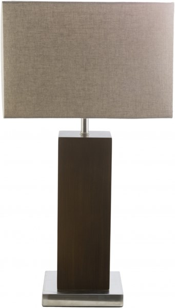 York Brushed Nickle Stained Metal Polyester Wood Polyester Lamp YORK-DCR-BNDL