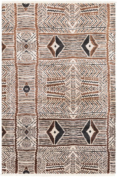 Surya Zambia Cream Dark Brown Black Viscose Wool Area Rug - 120x96 ZAM1000-810