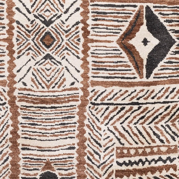 Surya Zambia Cream Dark Brown Black Viscose Wool Sample Area Rug - 18x18 ZAM1000-1616