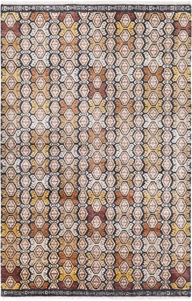 Surya Zambia Cream Dark Brown Mustard Viscose Wool Area Rug - 156x108 ZAM1002-913