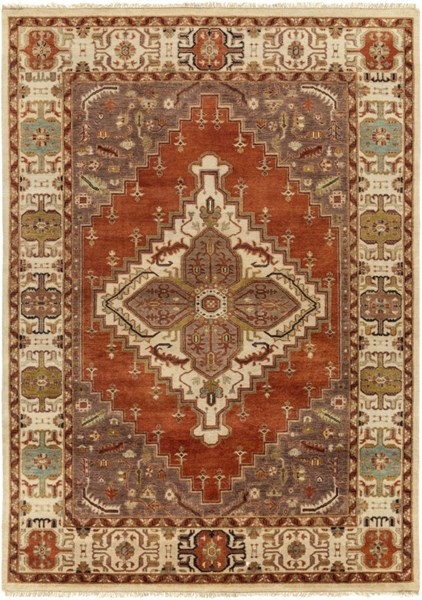 Surya Zeus Beige Light Gray Olive Wool Area Rug - 132x96 ZEU7800-811