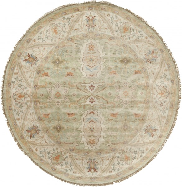 Zeus Sea Foam Beige Burgundy New Zealand Wool Round Area Rug - 96 x 96 ZEU7811-8RD