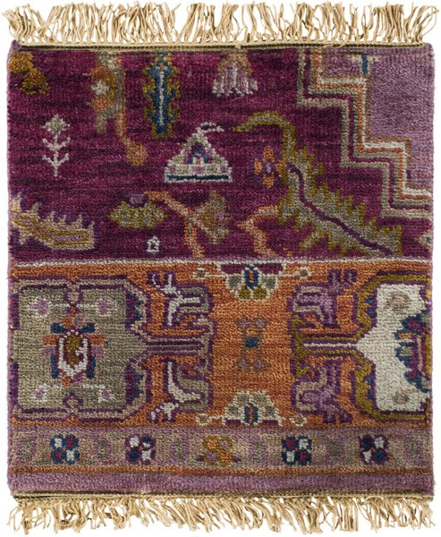 Surya Zeus Eggplant Clay Bright Purple Wool Sample Area Rug - 18x18 ZEU7820-1616