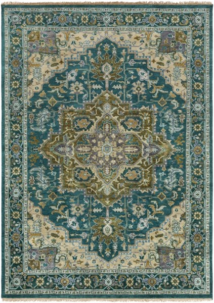 Zeus Teal Olive Ivory New Zealand Wool Area Rug - 96 x 132 ZEU7822-811