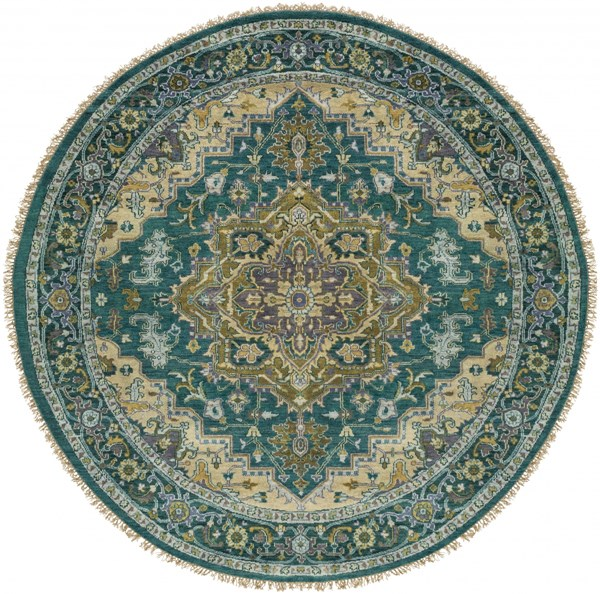 Zeus Teal Olive Ivory New Zealand Wool Round Area Rug - 96 x 96 ZEU7822-8RD