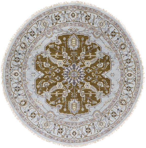 Zeus Charcoal Olive Taupe New Zealand Wool Round Area Rug - 96 x 96 ZEU7823-8RD