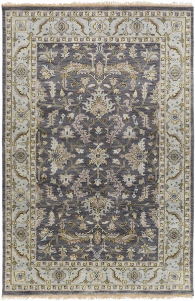 Surya Zeus Charcoal Sky Blue Dark Brown Wool Area Rug 69x45 The Classy Home