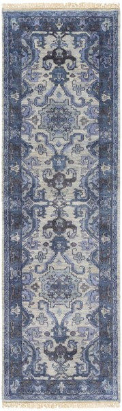 Surya Zeus Navy Light Gray Charcoal Wool Area Rug - 69x45 ZEU7828-3959