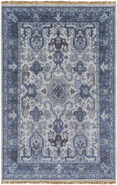 Surya Zeus Navy Light Gray Charcoal Wool Area Rug - 156x108 ZEU7828-913