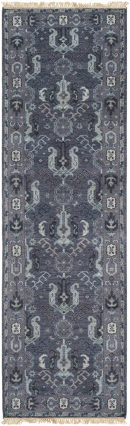 Surya Zeus Navy Dark Purple Aqua Wool Runner - 96x30 ZEU7830-268