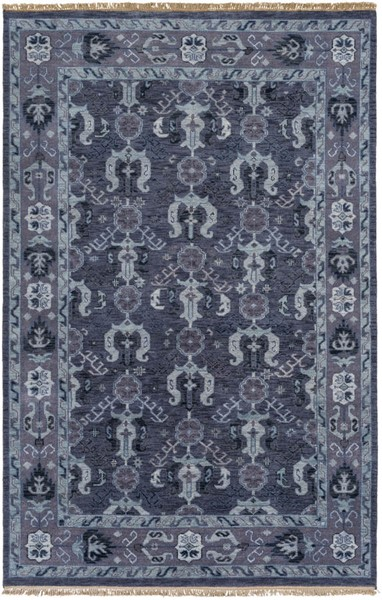 Surya Zeus Navy Dark Purple Aqua Wool Area Rug - 102x66 ZEU7830-5686