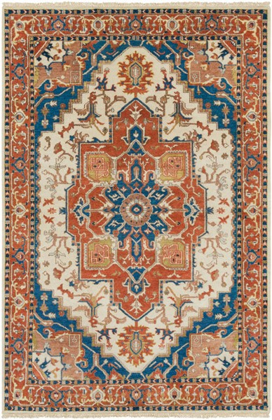 Surya Zeus Burnt Orange Sky Blue Camel Wool Area Rug - 156x108 ZEU8002-913