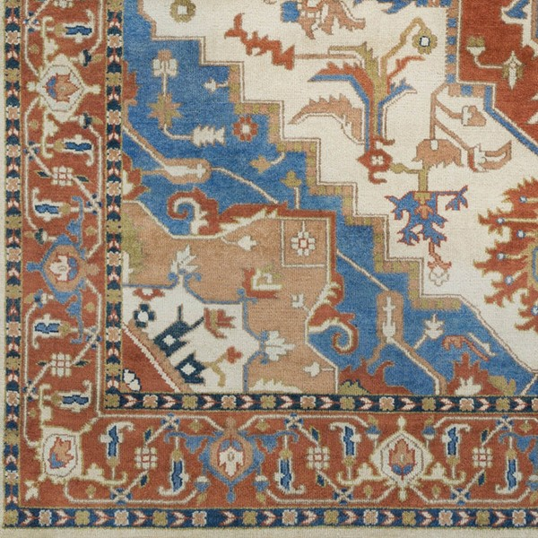 Surya Zeus Burnt Orange Sky Blue Camel Wool Sample Area Rug - 18x18 ZEU8002-1616