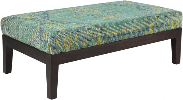 Zahara Gold Lime Teal Wood Fabric Benches 14139-VAR1
