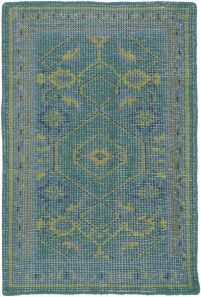 Zahra Teal Lime Olive Fabric Hand Knot Area Rugs 1050-VAR1