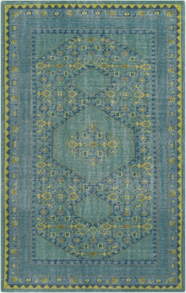 Zahra Teal Lime Olive Wool Area Rug - 66 x 102 ZHA4000-5686