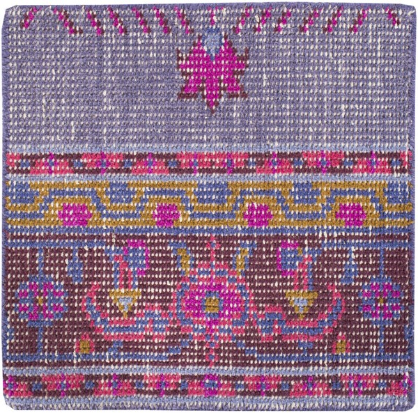 Surya Zahra Dark Purple Fuschia Bright Red Wool Sample Area Rug - 18x18 ZHA4001-1616