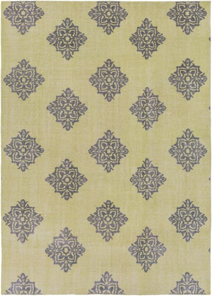 Zahra Contemporary Lime Black Wool Area Rug ZHA4024-811