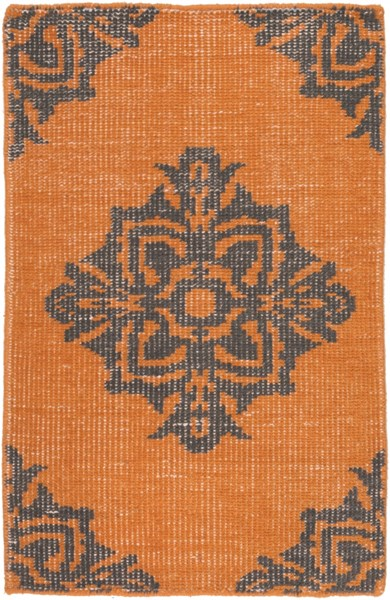 Zahra Burnt Orange Black Wool Area Rug - 24 x 36 ZHA4025-23
