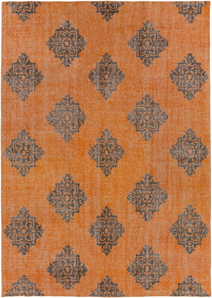 Zahra Burnt Orange Black Wool Area Rug - 96 x 132 ZHA4025-811
