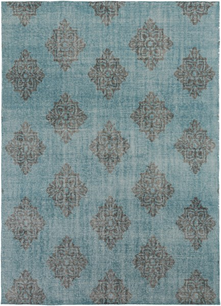 Zahra Contemporary Teal Black Wool Area Rug ZHA4026-811