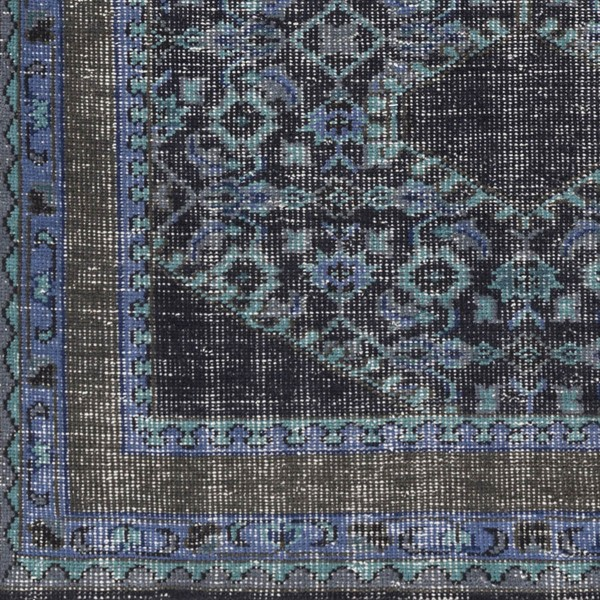 Surya Zahra Dark Blue Brown Charcoal Wool Sample Area Rug - 18x18 ZHA4033-1616