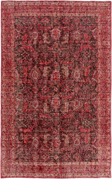 Surya Zahra Dark Brown Red Garnet Wool Area Rug - 102x66 ZHA4036-5686