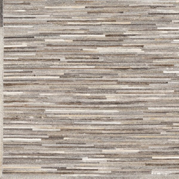 Surya Zander Gray Dark Brown Ivory Hair On Hide Sample Area Rug - 18x18 ZND1005-1616