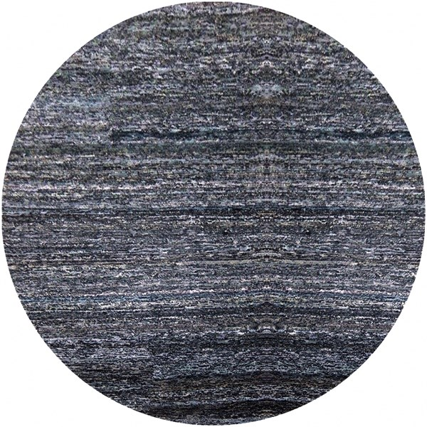 Zola Sky Blue Navy Charcoal Cotton Wool Round Area Rug - 96 x 96 ZOL3001-8RD