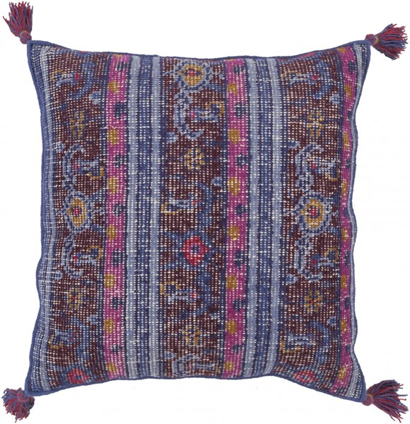 Zahra Cobalt Magenta Sky Blue Down Wool Throw Pillow - 30x30x5 ZP001-3030D
