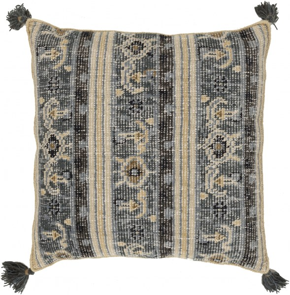 Zahra Charcoal Slate Olive Down Wool Throw Pillow - 30x30x5 ZP002-3030D