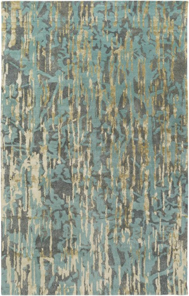 Surya Zephyr Aqua Denim Tan Wool Viscose Jute Sample Area Rugs ZPH3000-RUG-VAR