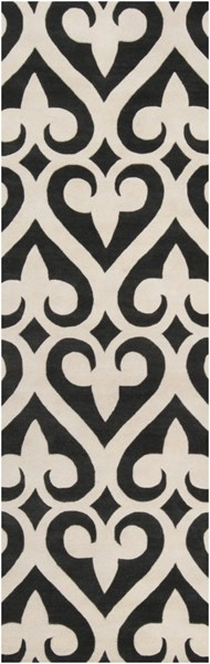 Zuna Contemporary Black Ivory Fabric Runners 580-VAR1