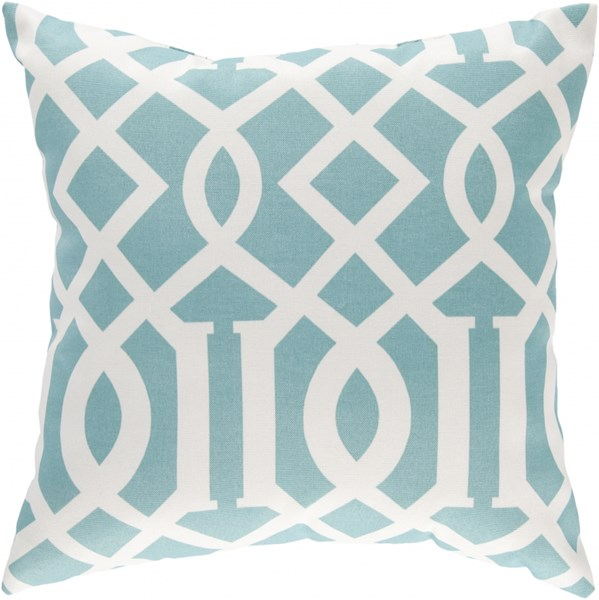 Storm Teal Ivory Polyester Throw Pillow (L 18 X W 18 X H 4) ZZ417-1818