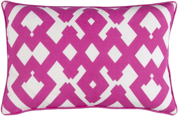 Large Zig Zag Pink Ivory Down Linen Cotton Lumbar Pillows 15409-VAR1