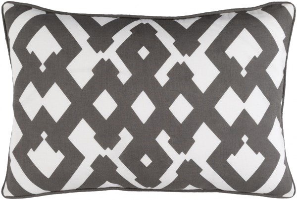 Large Zig Zag Charcoal Ivory Poly Linen Lumbar Pillow (L 20 X W 13) ZZG002-1320P