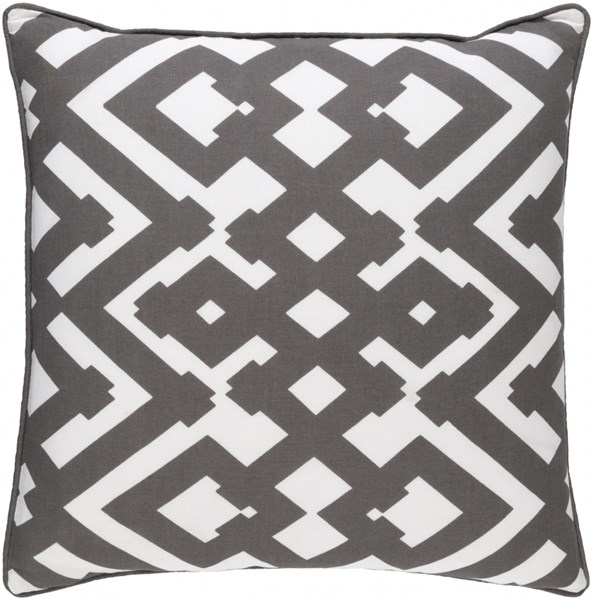 Large Zig Zag Charcoal Ivory Poly Linen Throw Pillow (L 20 X W 20) ZZG002-2020P