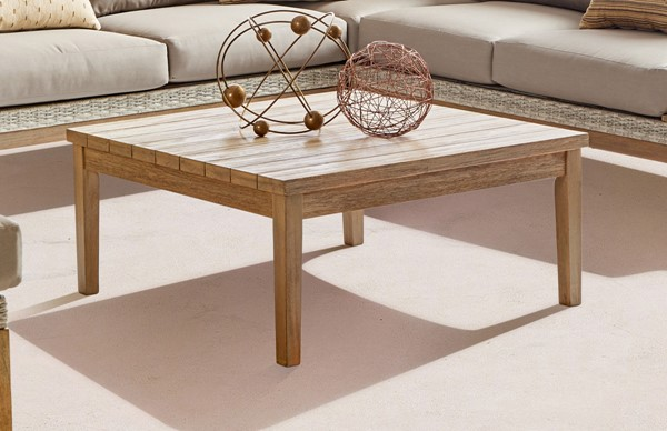 South Sea Candace Light Brown Taupe Patio Square Coffee Table SSEA-73544