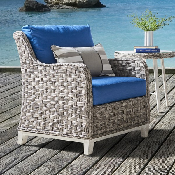 South Sea Grand Isle Gray Blue Cushion Patio Chair SSEA-77401-SGR-D33028-2
