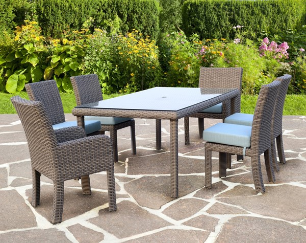 South Sea Saint Tropez Stone Gray Blue Canvas 7pc Dining Room Set SSEA-79319-OUTDOOR-DR-S-VAR