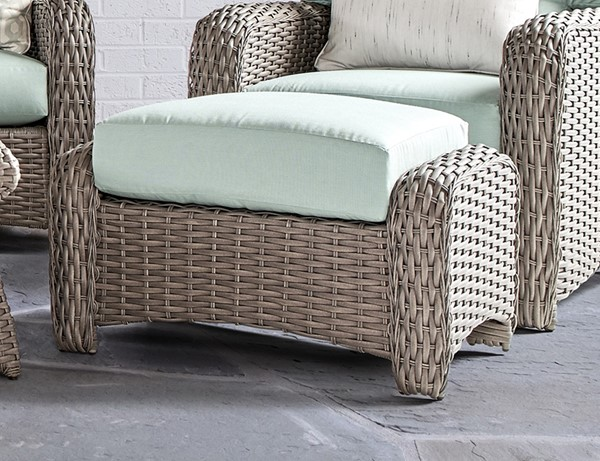 South Sea Saint Tropez Stone Gray Green Canvas Ottomans SSEA-79306-STN-OUTDOOR-OT-VAR