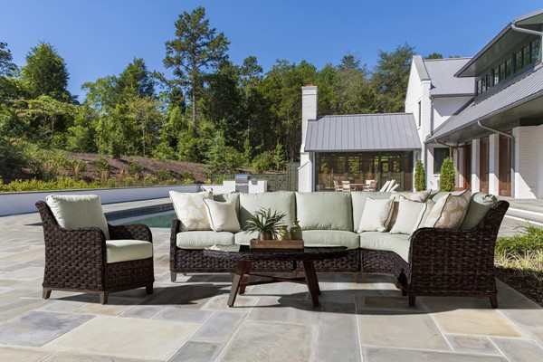 South Sea Grand Isle Brown Green Outdoor Sectional SSEA-77452-DKC-D33008-OUTSEC