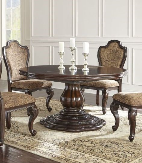 Steve Silver Angelina Leather Round 9pc Dining Room Set