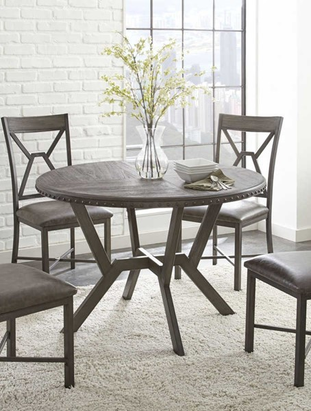 Steve Silver Alamo Gray Round Dining Table SSF-AL450T