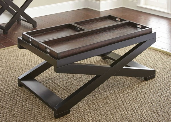 Steve Silver Alanis Ebony Cherry Cocktail Table with Tray SSF-AN250C