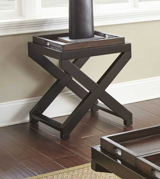Steve Silver Alanis Ebony Cherry End Table with Tray SSF-AN250E