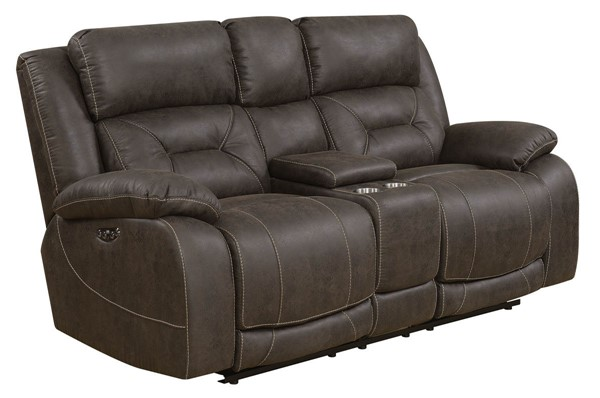 Steve Silver Aria Saddle Brown Power Recliner Console Loveseat SSF-AA950LBN